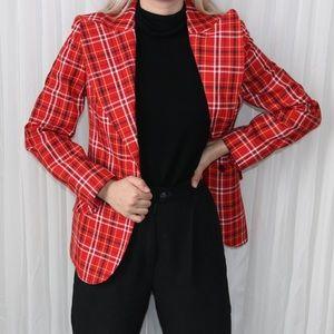 Vintage 70s red tartan blazer by UTEX